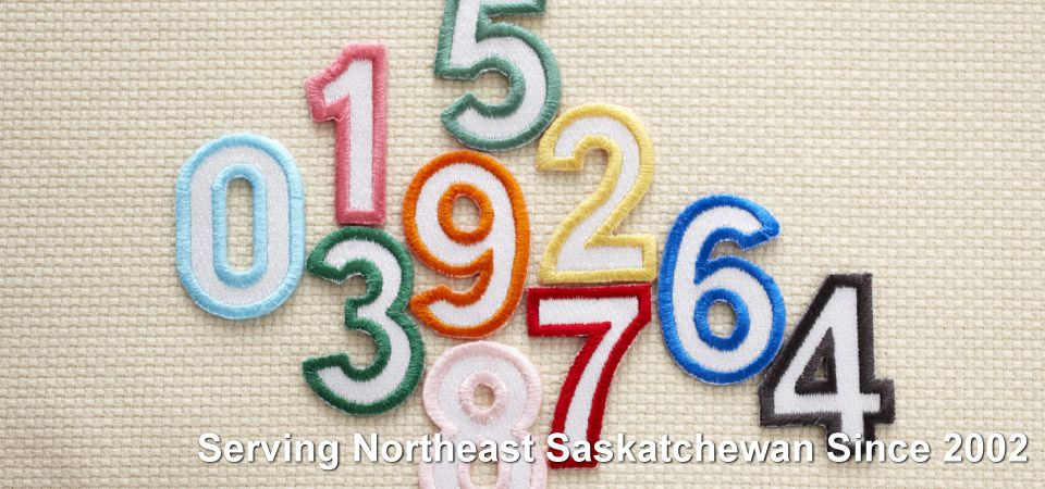 Embroidered numbers | Serving Northeast Saskatchewan Since 2002